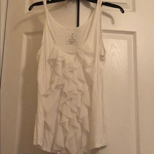 White tank top with ruffles